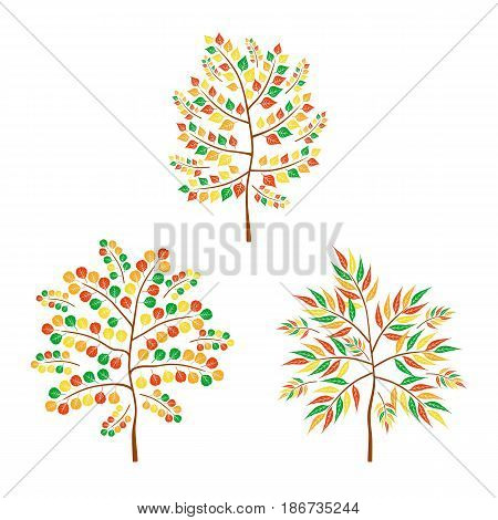 Vector flat autumn trees on white background. Logo design illustration