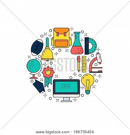 Illustration of symbols school items icon. School concept made in line style vector. Illustration for poster and header, banner, icons and other flat design web elements