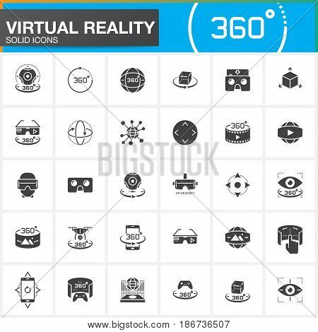 Virtual reality solid icons set. Innovation technologies AR glasses Head-mounted display VR gaming device. Modern flat line design vector collection. Outline logo illustration concept
