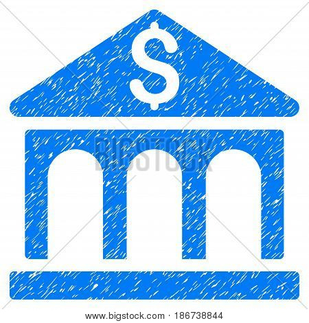 Grunge Bank Building icon with grunge design and dust texture. Unclean vector blue pictogram for rubber seal stamp imitations and watermarks. Draft sign symbol.