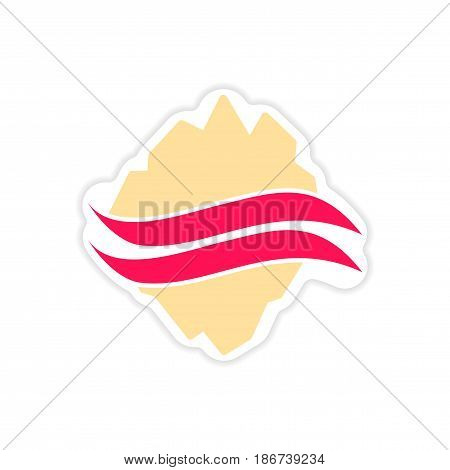 paper sticker on white background Arctic map
