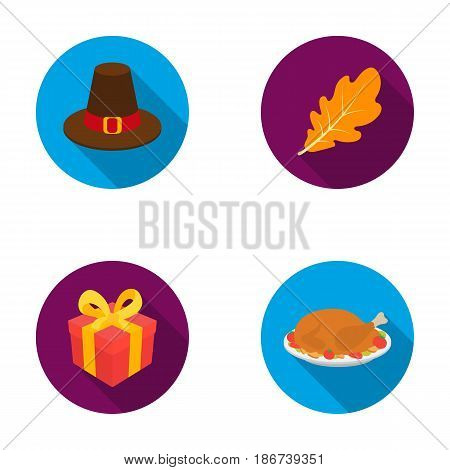 Hat of a pilgrim, oak leaf, gift in a box, fried turkey.Canada thanksgiving day set collection icons in flat style vector symbol stock illustration .