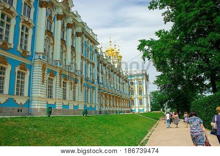 Tsarskoye Selo St. Petersburg Russia July 2015: Catherine Palace in Pushkin summer residence