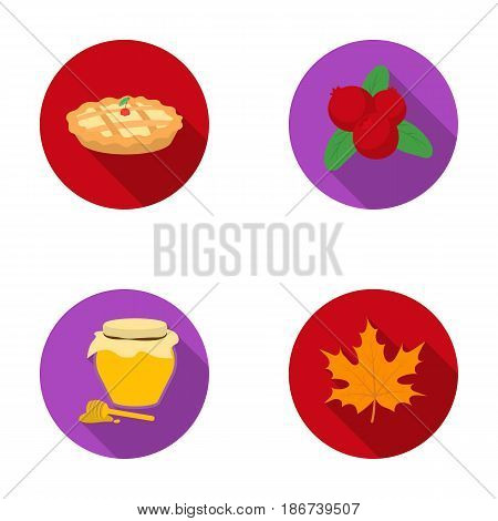 Cranberry, pumpkin pie, honey pot, maple leaf.Canada thanksgiving day set collection icons in flat style vector symbol stock illustration .