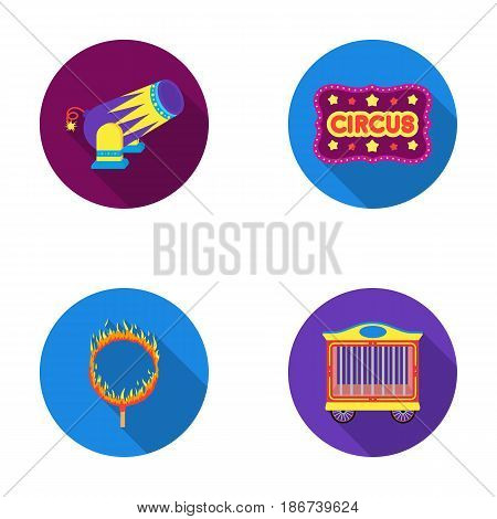Circus trailer, circus gun, burning hoop, signboard.Circus set collection icons in flat style vector symbol stock illustration .