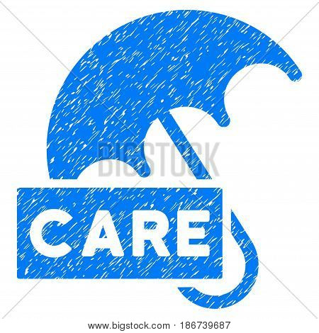 Grunge Care Umbrella icon with grunge design and dust texture. Unclean vector blue pictogram for rubber seal stamp imitations and watermarks. Draft sign symbol.