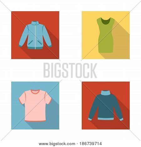 A mans jacket, a tunic, a T-shirt, a business suit. Clothes set collection icons in flat style vector symbol stock illustration .