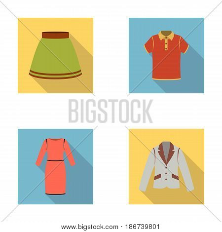 Skirt, t-shirt, sweater, dress with long sleeves.Clothing set collection icons in flat style vector symbol stock illustration .