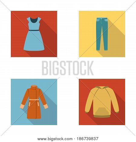 Dress with short sleeves, trousers, coats, raglan.Clothing set collection icons in flat style vector symbol stock illustration .