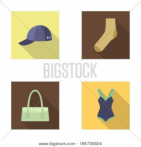 Cap, sock, hat, bag and other clothes. Clothes set collection icons in flat style vector symbol stock illustration .