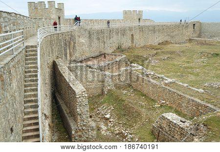 OHRID, MACEDONIA - MARCH 12, 2017: Walls surrounding the king Samuil fortress in Ohrid, Macedonia