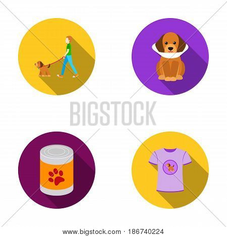 Walk, man, protection, collar, food.Dog set collection icons in flat style vector symbol stock illustration .