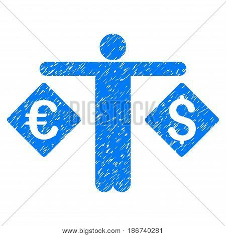 Grunge Currency Trader icon with grunge design and dust texture. Unclean vector blue pictogram for rubber seal stamp imitations and watermarks. Draft emblem symbol.