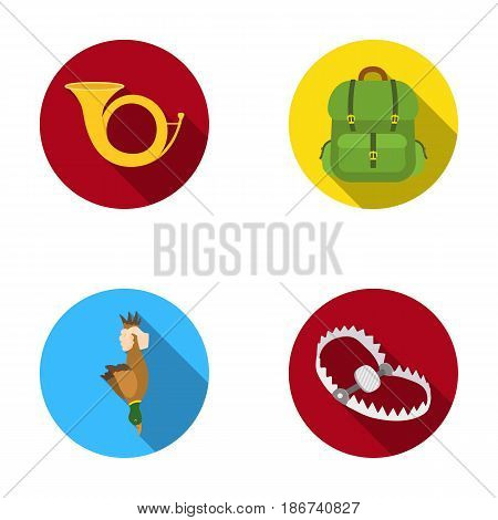 Horn, game in hand, backpack with things, steel cap.Hunting set collection icons in flat style vector symbol stock illustration .
