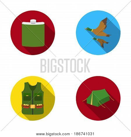 Flask, gilet with cartridges, flying ducks, tent.Hunting set collection icons in flat style vector symbol stock illustration .