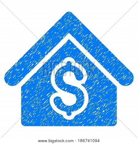 Grunge House Rent icon with grunge design and scratched texture. Unclean vector blue pictogram for rubber seal stamp imitations and watermarks. Draft sign symbol.