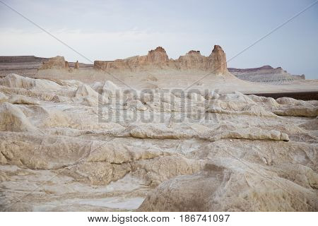 Peaked rocks and geological formations in Boszhira canyon, plateau Ustyurt, Kazakhstan
