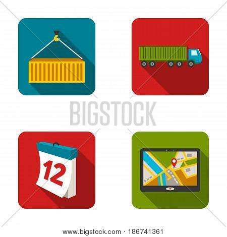 Metal container, calendar, truck, GPS navigator.Logistic set collection icons in flat style vector symbol stock illustration .