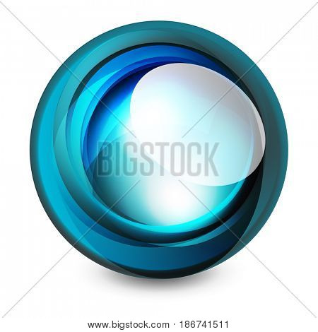 Glass sphere, futuristic abstract element. illustration for your text, photo inside or message.