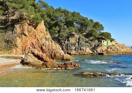 a view of the coast of the Mediterranean sea in Tamariu, Costa Brava, Spain