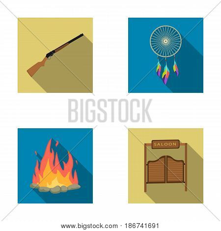 A dream-catcher, a gun, a saloon door, a fire. set collection icons in flat style vector symbol stock illustration .