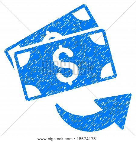 Grunge Send Money icon with grunge design and dirty texture. Unclean vector blue pictogram for rubber seal stamp imitations and watermarks. Draft sticker symbol.