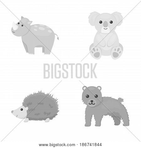 Rhino, koala, panther, hedgehog.Animal set collection icons in monochrome style vector symbol stock illustration .