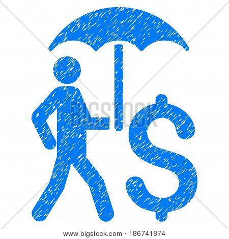 Grunge Walking Businessman With Umbrella icon with grunge design and dirty texture. Unclean vector blue pictogram for rubber seal stamp imitations and watermarks. Draft sticker symbol.