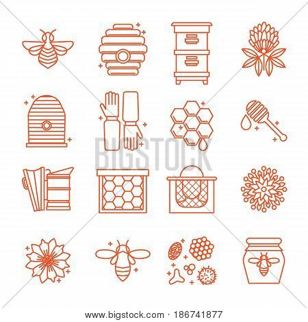 Set of icons of beekeeping. Honey, Apiary, hives, bees, equipment, flowers. For eco products of beekeeping, cosmetics medicine In a linear style