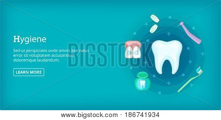 Dental hygiene horizontal concept. Cartoon illustration of dental hygiene banner horizontal vector for web