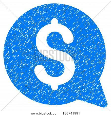 Grunge Financial Message icon with grunge design and unclean texture. Unclean vector blue pictogram for rubber seal stamp imitations and watermarks. Draft emblem symbol.