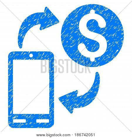 Grunge Mobile Banking icon with grunge design and dirty texture. Unclean vector blue pictogram for rubber seal stamp imitations and watermarks. Draft emblem symbol.