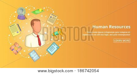 Human resources horizontal concept. Cartoon illustration of human resources banner horizontal vector for web