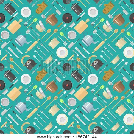 Vector seamless pattern with kitchenware pans jars grater dishes cup teapot kettle kitchen scale rolling pin spoon fork knife cutting board. Bright graphic equipment texture.