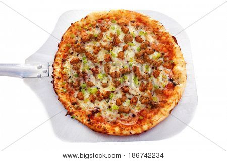 PIZZA. Isolated on white. Room for text. Close up of Sausage, Meat and Pepper Pizza for lunch.
