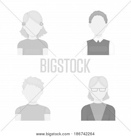 Red-haired boy, teen girl, grandmother wearing glasses.Avatar set collection icons in monochrome style vector symbol stock illustration .