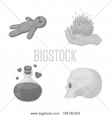 A voodoo doll, a magical fire, a love potion, a skull.Black and white magic set collection icons in monochrome style vector symbol stock illustration .