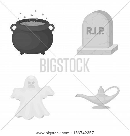 A witch's cauldron, a tombstone, a ghost, a gin lamp.Black and white magic set collection icons in monochrome style vector symbol stock illustration .