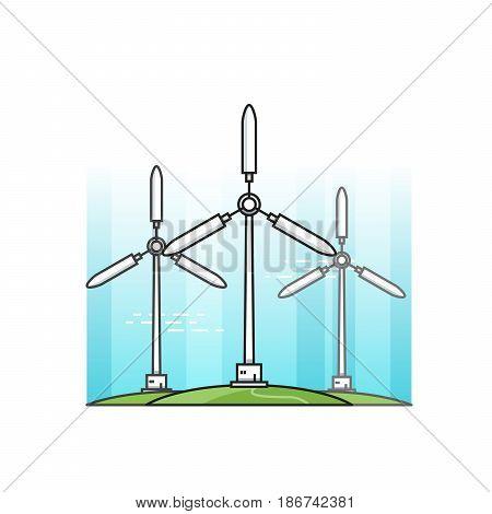 Wind power station vector illustration. Alternative energy
