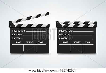 Open and closed clapperboard. Vector illustration. Movie attribute