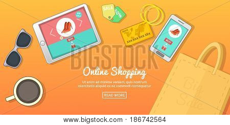 Online buy horizontal concept. Cartoon illustration of online buy banner horizontal vector for web
