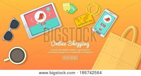 Online buy horizontal concept. Cartoon illustration of online buy banner horizontal vector for web