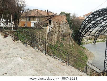 OHRID, MACEDONIA - MARCH 12, 2017: Roman Amphitheater in Ohrid, republic of Macedonia