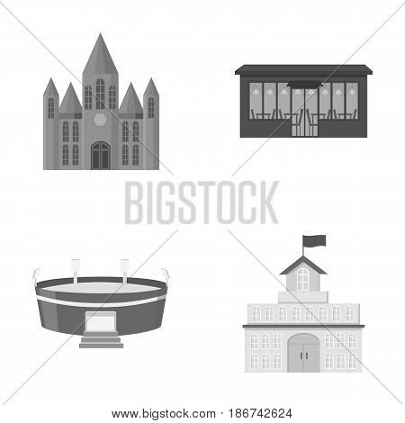 House of government, stadium, cafe, church.Building set collection icons in monochrome style vector symbol stock illustration .