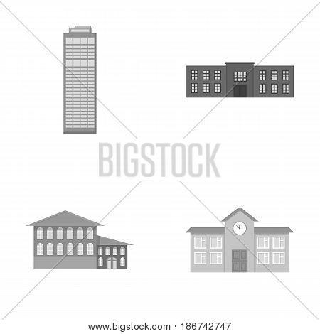 Skyscraper, police, hotel, school.Building set collection icons in monochrome style vector symbol stock illustration .