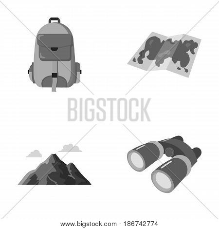 Backpack, mountains, map of the area, binoculars. Camping set collection icons in monochrome style vector symbol stock illustration .