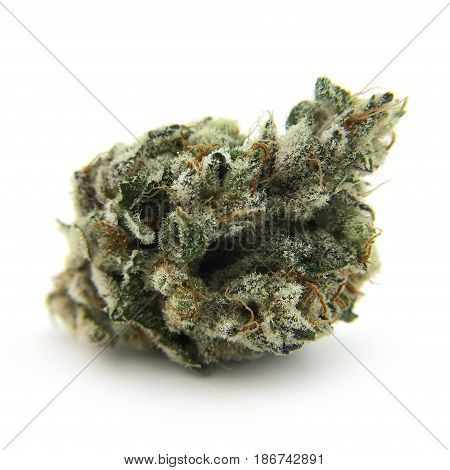 Dried cannabis flower After Chem #2 isolated on white backdrop