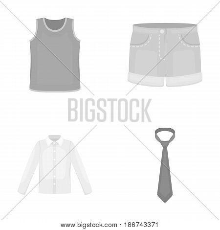 Shirt with long sleeves, shorts, T-shirt, tie.Clothing set collection icons in monochrome style vector symbol stock illustration .