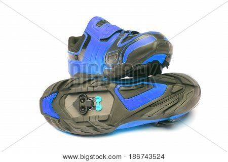 Mountain bike cycling shoes in blue color isolated
