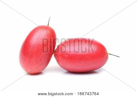 Miracle fruit; Miracle berry (Synsepalum dulcificum) isolated on white
